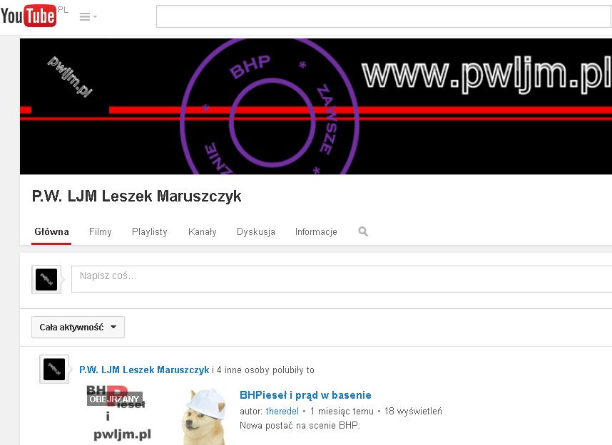 Kanał firmowy p.w. LJM Leszek Maruszczyk - edukacja z zakresu bHP