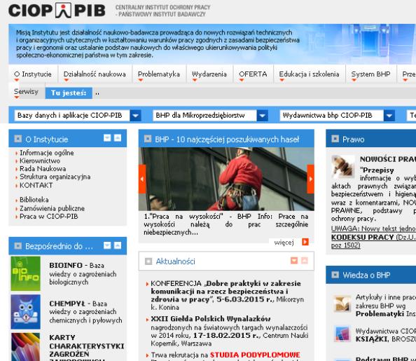 Centralny Instytut Ochrony Pracy - serwis internetowy