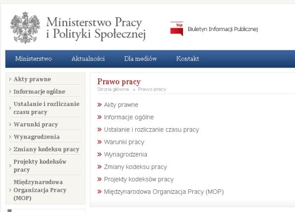 Prawo Pracy na stronach Ministerstwa Pracy i Polityki Społecznej